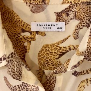 Equipment Tops - Equipment Cheetah Print Slim Signature Silk Shirt
